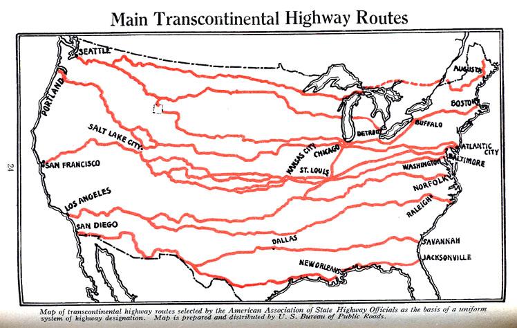 1927 24 Jpg Djvu Map Main Transcontinental Highway Routes
