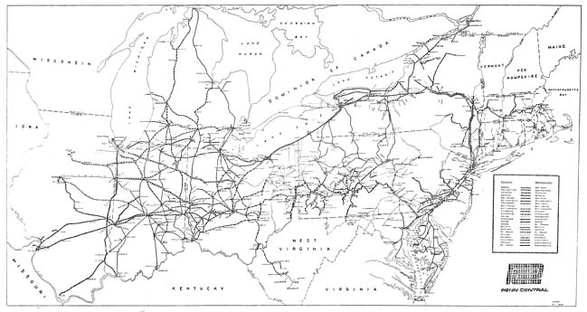 Penn Central Railroad Maps - Map of penn