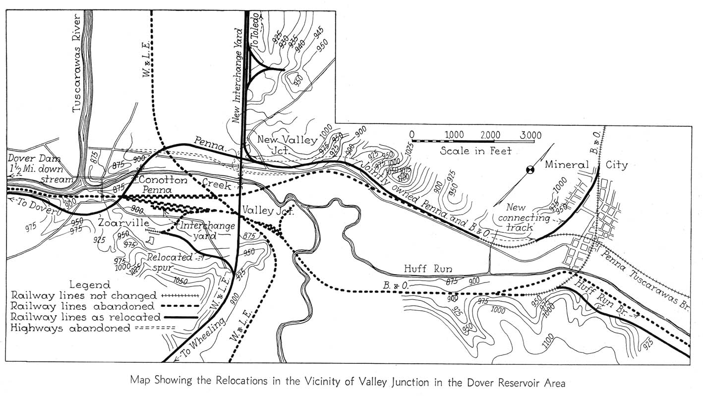 Map Showing The Relocations In The Vicinity Of Valley Junction In The Dover Reservoir Area